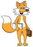 Business fox with a briefcase and papers Stock Photo