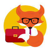 Business fox  with business bag. Business concept and office  design Stock Photos