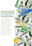 Business Frame. With Dollar Bills and Credit Cards, template for design Royalty Free Stock Images