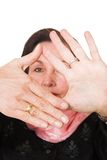 Business frame - focus on hands Stock Photo