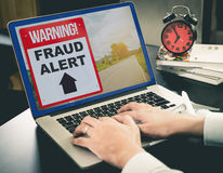 Business Fraud Alert on Computer Screen Stock Photography