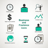 Business and freelance icons. Business and freelance flat icons Royalty Free Stock Image