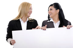 Business friends. Business concept women on white background showing papers Royalty Free Stock Images