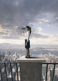 Business and future. Businesswoman looking for a future in the business Royalty Free Stock Image