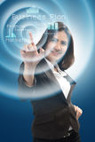 Business and future technology concept - smiling businesswoman w. Orking with virtual screen Royalty Free Stock Photo