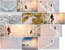 Business futuristic 3d collection. High quality render of several futuristic and business scenes with many elements and variety Royalty Free Stock Images