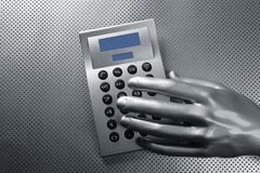 Business futuristic silver hand calculator Stock Images