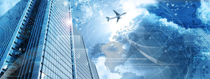 Business Futuristic Skyscraper Banner Stock Images