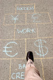 Business is a game. Man playing a business hopscotch Stock Image