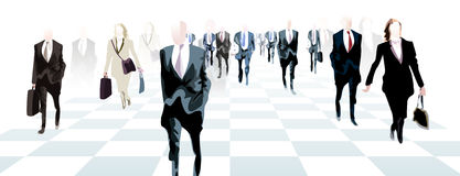 Business Game. A Chess board of Business people Stock Photos