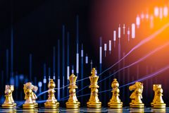 Business game on digital stock market financial and chess backgr. Ound. Digital business and stock market financial on LED. Double exposure chess business Stock Photo