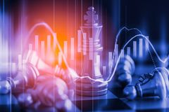 Business game on digital stock market financial and chess backgr. Ound. Digital business and stock market financial on LED. Double exposure chess business Stock Images