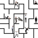 Business game of maze. Business person inside a big maze like a business game Stock Image