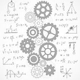 Business gear hand drawn sketch on gray blueprint Royalty Free Stock Photo