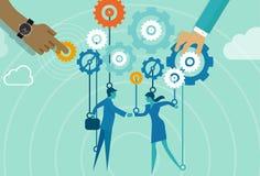 Business gear men women handshake metaphor Stock Photos