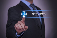 Business Gear Services. Working with virtual screen touch internet Royalty Free Stock Photo