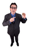 Business geek with CPU. Businessman geek standing and holding a CPU computer chip isolated over a white background royalty free stock photos