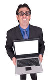 Business geek with laptop Royalty Free Stock Image