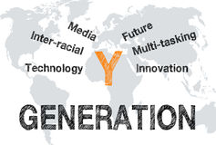 Business generation Y. Attributes of young business generation Y symbolized by text 'technology, inter-racial, media, future, multi-tasking and innovation' stock illustration