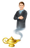 Business Genie. Business concept. A businessman genie coming out of a magic gold lamp like from Aladdin stock illustration
