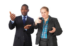 Business gestures. Business people making random hand gestures royalty free stock image