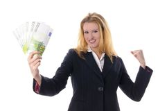 Business Girl with bundles of money Royalty Free Stock Photos