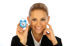 Business girl and clock Royalty Free Stock Photos