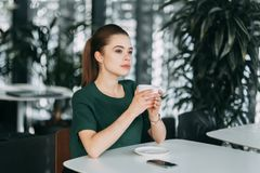 Business girl with coffee royalty free stock image