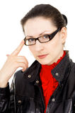 Business girl corrects glasses Royalty Free Stock Photography