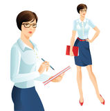 Business girl. Cute girl writing in document. Women in glasses hold folder in her hand Royalty Free Stock Photos