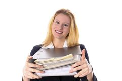 Business girl with documents Stock Images