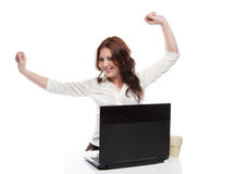 Business Girl Enjoys Successfully Done Work Royalty Free Stock Image