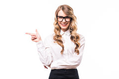 Business girl with eyeglasses with okey sign on white backgroung. Young business girl with eyeglasses with okey sign on white backgroung Royalty Free Stock Photography