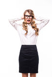 Business girl with eyeglasses  stressed or shocked on white backgroung. Young business girl with eyeglasses  stressed or shocked on white backgroung Royalty Free Stock Photo