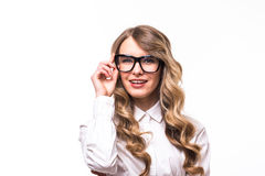 Business girl with eyeglasses on white backgroung. Portrait of young business girl with eyeglasses on white backgroung Royalty Free Stock Images
