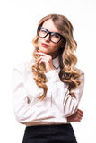 Business girl with eyeglasses on white backgroung. Portrait of Young business girl with eyeglasses on white backgroung Royalty Free Stock Photography