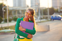 Business. Girl with a folder. Stock Images