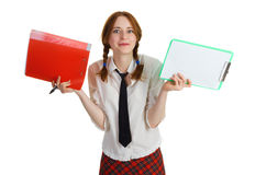 Business girl with a folder and a worksheet Royalty Free Stock Photo