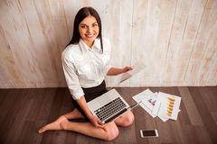 Business girl and gadget Stock Photo