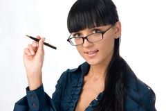 Business girl in glasses. Smiling business girl in glasses stock images