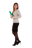 Business girl with a green office folder Stock Photography