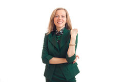 Business girl in green unifrom smiling Stock Image
