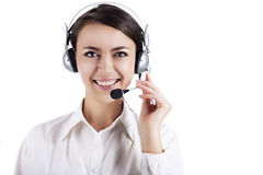 Business girl in headphones Royalty Free Stock Photography