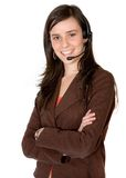 Business girl with headset Royalty Free Stock Photo