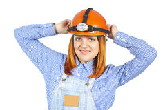 Business girl in a helmet and robes stock image
