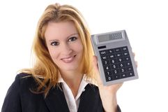 Business Girl holding calculator Royalty Free Stock Images