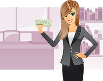 Business girl holding cashier check. Illustration of a business girl is holding a cashier check with bank office background.Contain gradient effect stock illustration