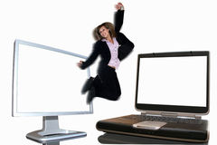 Business girl jumping Royalty Free Stock Photography