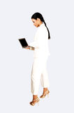 Business girl with laptop. Royalty Free Stock Photos