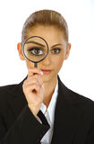 Business girl and magnifier stock photos